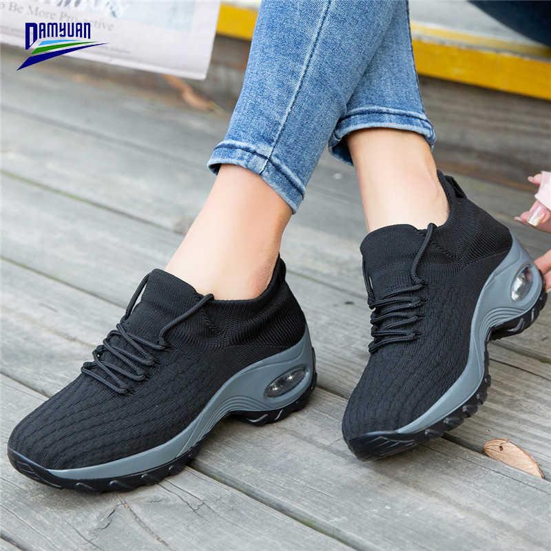 Damyuan düz ayakkabı kadınlar için rahat örgü Zapatos De Mujer 2020 yeni nefes hava yastığı platformu Tenis Feminino kadın ayakkabı