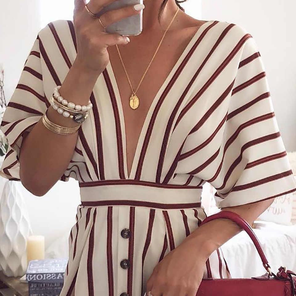 Fleur Holz Tiefem V-ausschnitt Sexy Kleid Frauen Sommer Gestreiften Print Kurzarm Taste Casual Streetwear Lose Vintage Kleid Vestidos