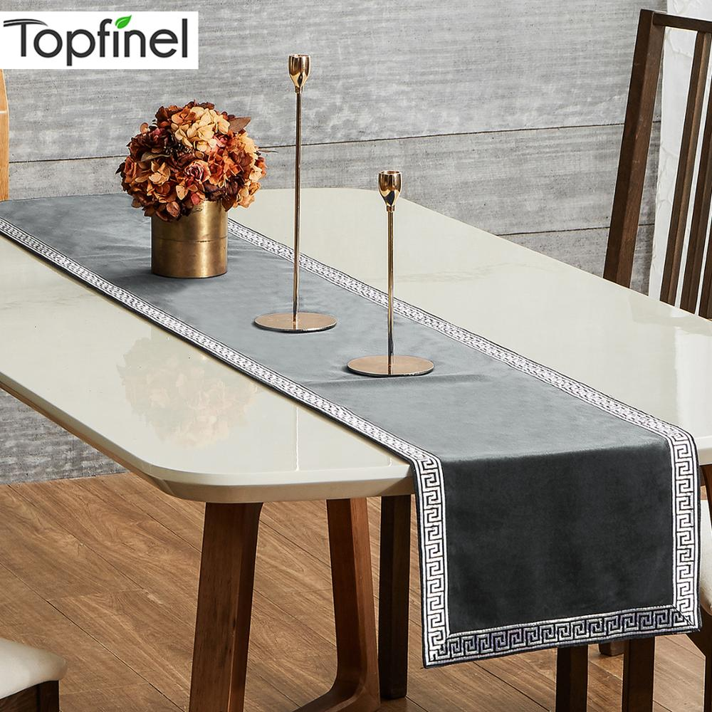 Topfinel Geometric Table Runners Modern Luxury Bed Runner Cloth Rectangle Dining Decoration For Wedding Party Home Office
