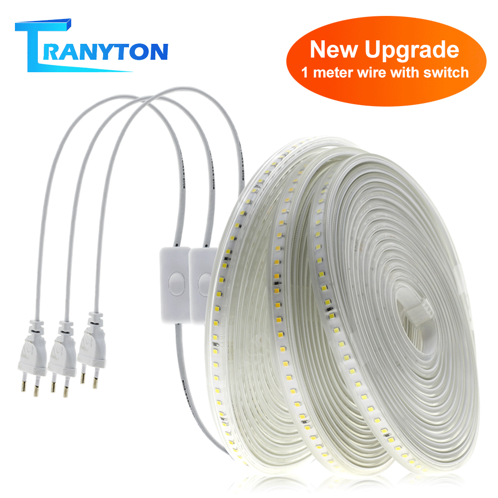220V 110V LED Strip 2835 High Safety High Brightness Outdoor Safety Waterproof lamp with EU/US Plug 120LEDs Landscape lights
