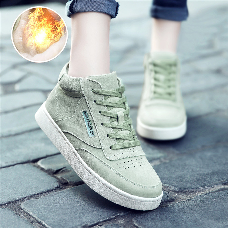 Women Shoes Keep Warm Winter Genuine Leather Basket Female Sneakers Short Plush Fashion Casual Shoes Woman Flats Comfortable