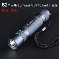 Linterna LED potente Convoy S2 Plus, con luz Luminus SST40, 18650, 1800lm, portátil, para trabajo y campamento