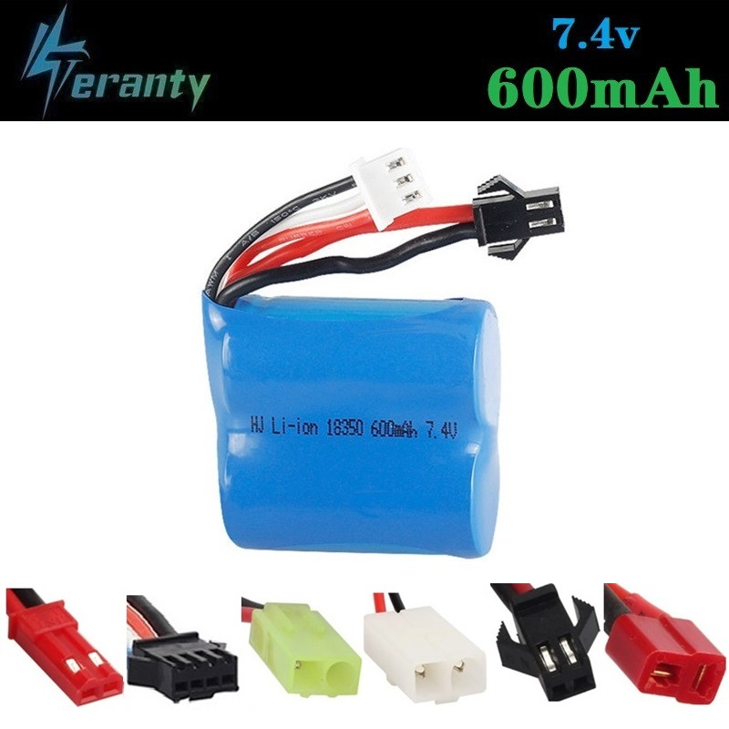 <font><b>7.4V</b></font> <font><b>600mAh</b></font> 18350 Li-ion <font><b>Battery</b></font> for Skytech H100 H102 High Speed Rc Racing Boat for JJ RC S1 S2 S3 S4 S5 <font><b>Battery</b></font> 7.4 V 1pcs image