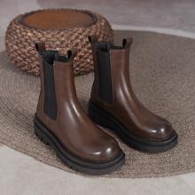 Jesień kobiety Chelsea Boots skórzana platforma botki 2021 moda jesień motocykl antypoślizgowe wodoodporne buty damskie buty tanie tanio MALEMONKEY Płaskie z SZTYBLETY Z dwoiny CN (pochodzenie) Zima ANKLE RZYM ZSZYWANE Stałe HC-801 Adult Cotton Fabric okrągły nosek