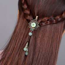 Resin flower Barrettes Cloisonne Hairpin Tassel Ethnic Vintage Hair  Accessory Women Hairclip Bronze alloy Jewelry Ornaments цена и фото