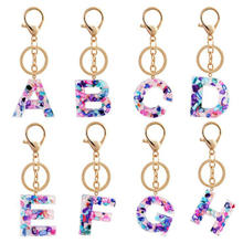 26 color men and women new key chain resin letter key chain bag key ring car ornaments decorative buckle jewelry wholesale