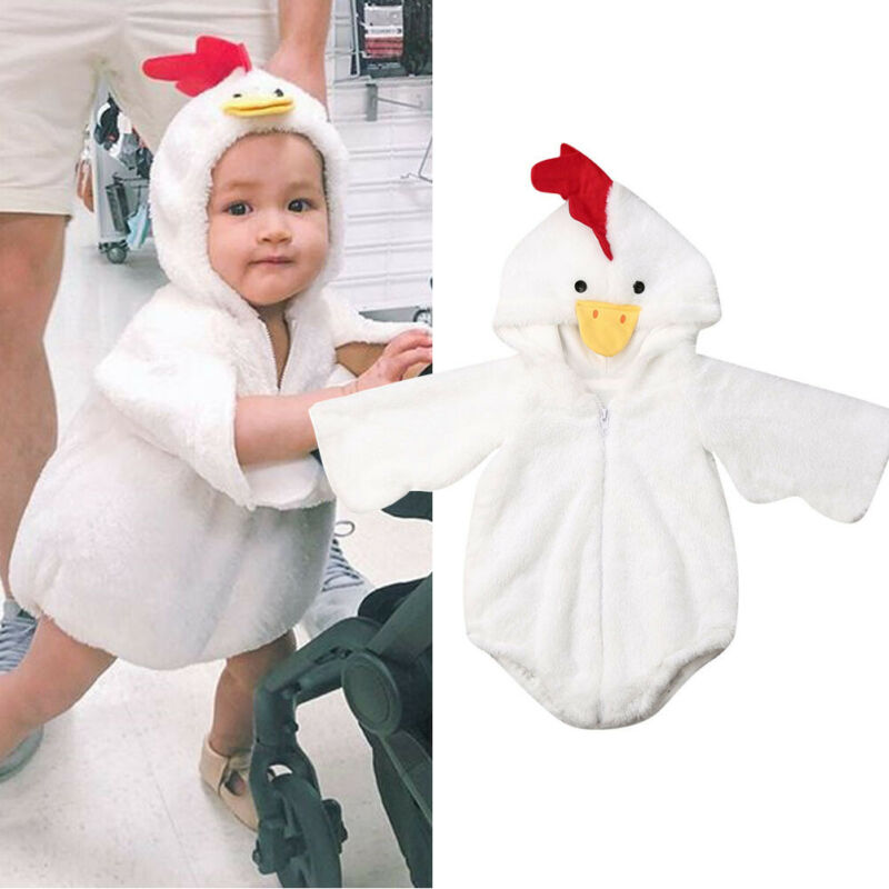Funny Chicken Cartton Hoodie Cape Romper Photography Shoot Fleece Baby Girl Boy Warm Winter Fuzzy CloakJumpsuit Cosplay Costume