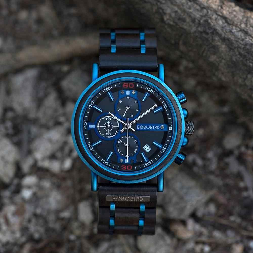 リロイhombreボボ鳥新木製腕時計メンズトップブランドの高級クロノグラフミリタリークォーツ腕時計のためのカスタマイズされた