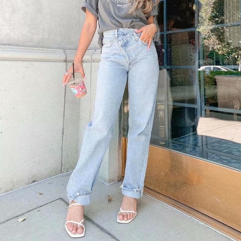 Fashion Street Button Straight Jeans