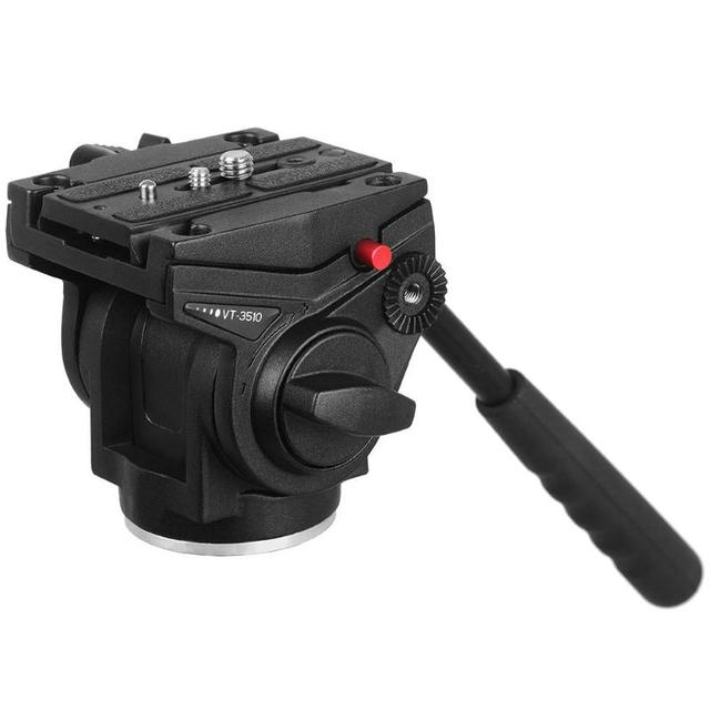 Kingjoy VT 3510 אלומיניום סגסוגת וידאו חצובה ראש 360 תואר פנורמי מצלמה Stand נוזל דעיכת בעל