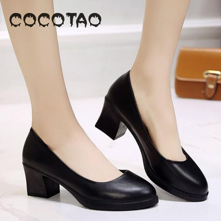 The New 2019 Black Round Head Rough Work With Leather Shoes Comfortable And Soft Bottom Shoes For Women's Shoes 21