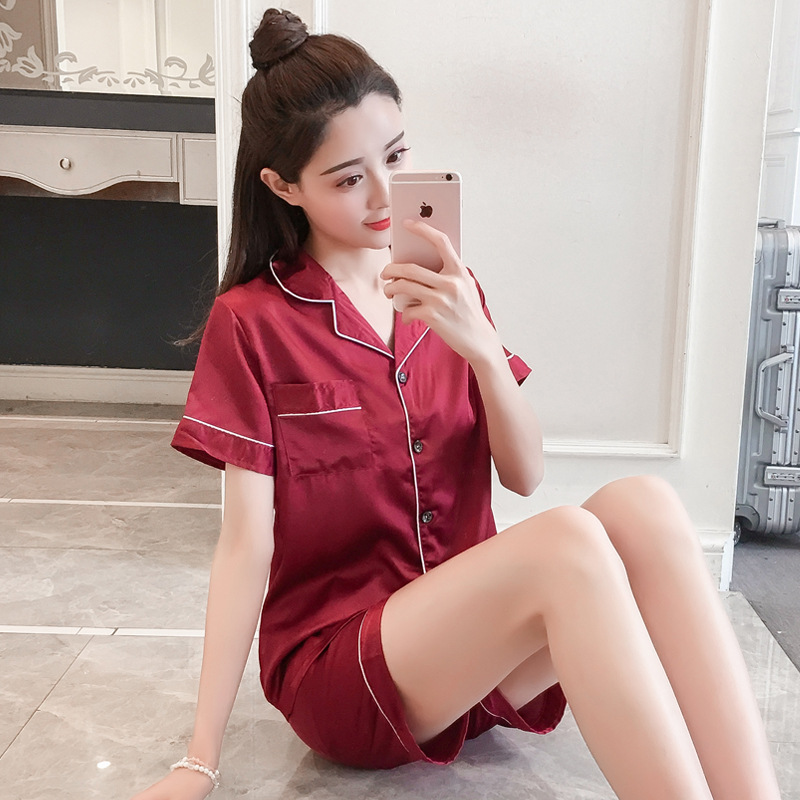 Summer Short-sleeved Pajamas Women's Imitated Silk Fabric Solid Color Plus-sized Tracksuit Cardigan Suit Seven Code 5XL