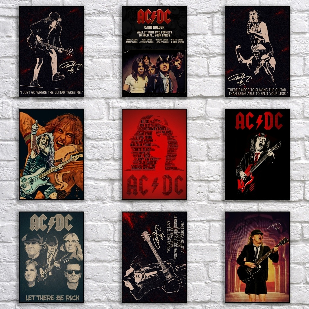 Popular AC/DC Poster Retro Kraftpaper Rock Band Poster Art Painting Funny Fancy Wall Sticker For Coffee House Bar
