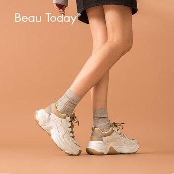 BeauToday, zapatillas gruesas para mujer, zapatos informales Retro de malla de cuero de vaca, zapatillas con cordones de plataforma, zapatillas hechas a mano 29333