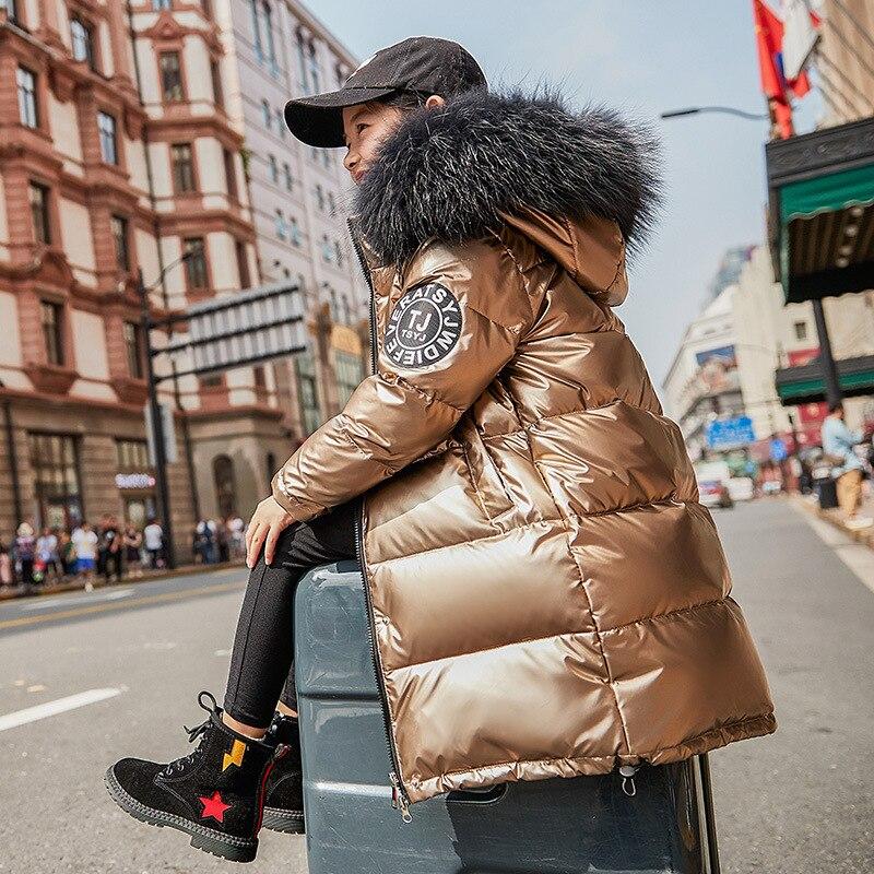 Best-u-store Girl Down Jackets Pattern Winter Warm Children Down Parkas Coat Fur Kids Teenager Thickening Outerwear