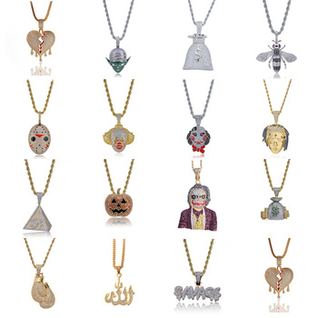 Fashion Punk Hip Hop Women Men Characters Pendant Necklace Crystal Rhinestone Chain Necklace Creative Necklaces Jewelry steampunk geometric lock pendant necklace women men jewelry hip hop punk gold silver chunky chain necklaces long sweater chain