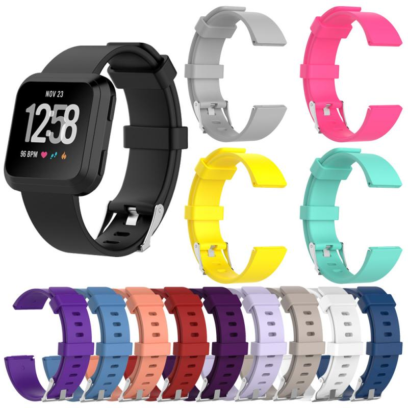 Silicone Wristband For Fitbit Versa Lite/Versa Smart Watch 1 2 Glossy Soft Strap Women Fashion Watch Band Bracelet Strap