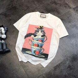Xx9528 New Style Korean-style Digital Printing Tea Cup Cat G Home Crew Neck Girl'S Tops Short Sleeve T-shirt 2019 Summer