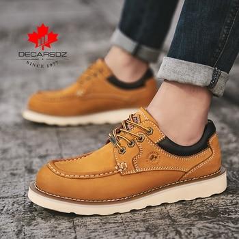 DECARSDZ Genuine leather Men Shoes Autumn New Comfy Lace-up Men Casual Shoes Man outdoor Durable outsole Men's Shoes Size 38-45