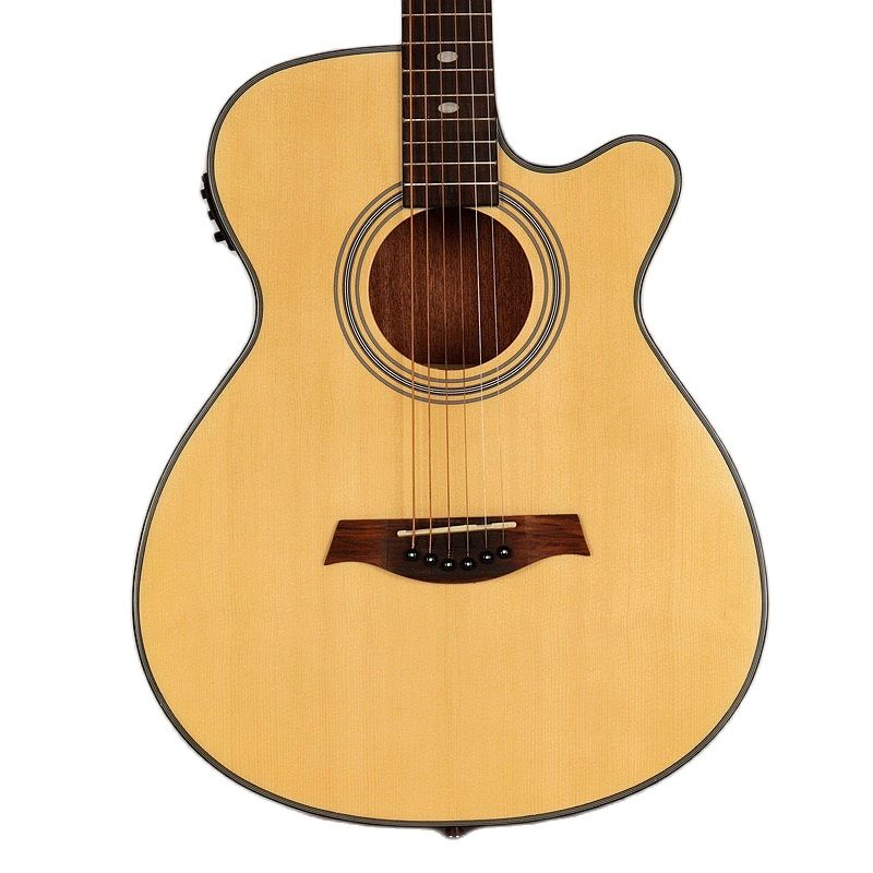 thin body Electric acoustic guitar 40 inch natural color high gloss folk eletrica guitarra with EQ tuner with string and gig bag