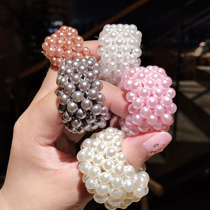 2020 Korea Pearl Scrunchies Hair Accessories For Women Colorful Soft Fur Hair Rope Elastic Rubber Hair Band Ponytail Tie Holder