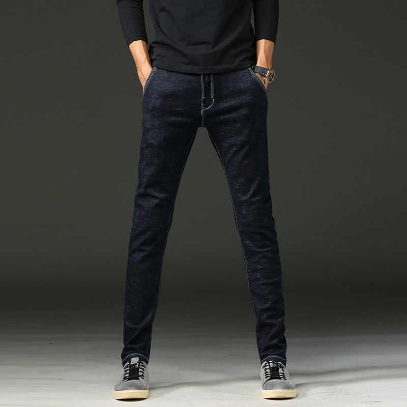 Синие джинсы, Мужские джинсы темно-синие брюки узкие джинсы штаны; модные штаны уличная одежда мужские джинсы