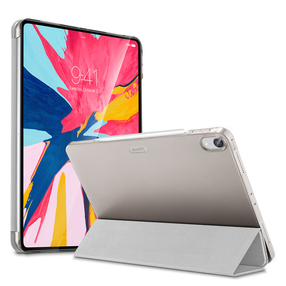 Gray Multi-color PU and Transparent Back Ultra Slim with Trifold Smart Case for iPad Pro 11 2018 A2013, A1934, A1979, A1980