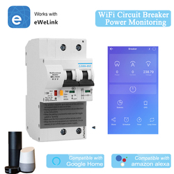 EWelink 2P WiFi Circuit Breaker Power Monitoring Meter Function Smart MCB Alexa Google Home Compatible Lan Control IFTTT Support