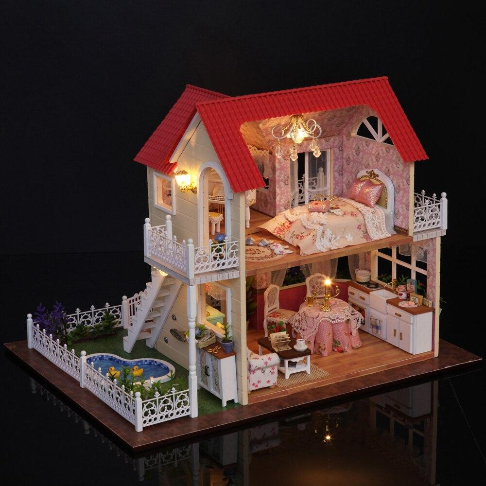 Nuevo DIY 3D casa de muñecas de madera habitación de princesa decoraciones hechas a mano Regalo de Cumpleaños niños juguete con muebles para regalo de cumpleaños - 3