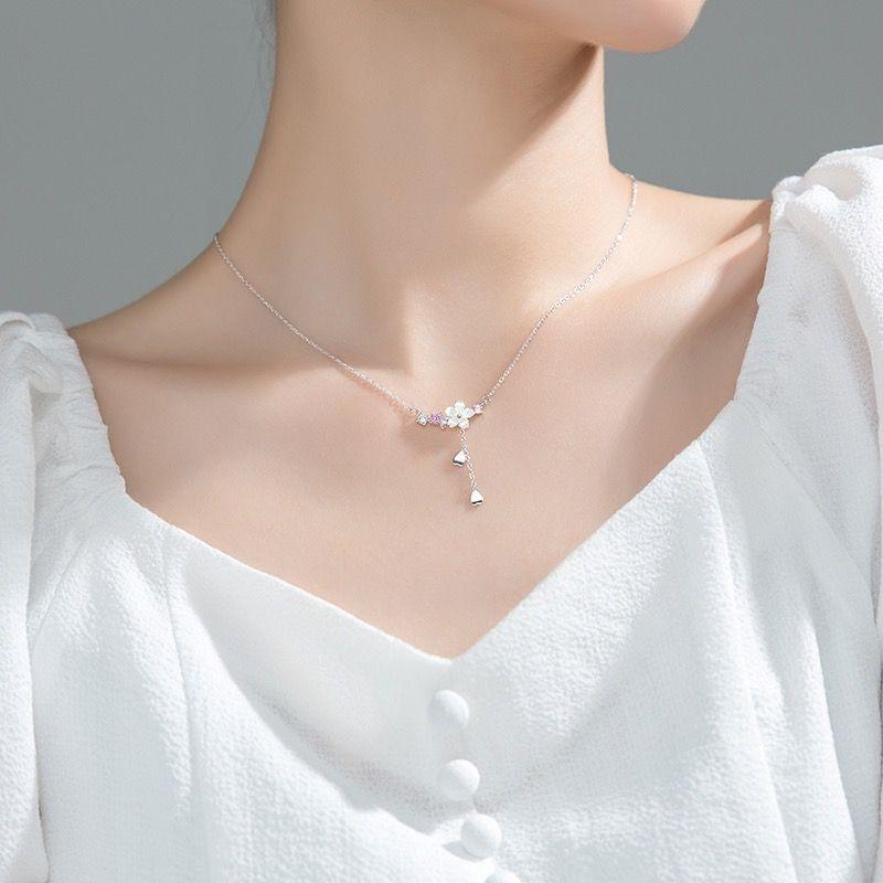 Collier en argent S925, Style coréen, avec jolie fleur, ensemble de glands, chaîne clavicule en cristal, pour femme, cadeaux de fête