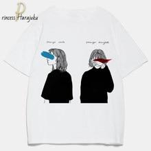 T-shirt blanc à manches courtes pour femme, estival et estival, avec impression de fille en forme de dépression, Harajuku et Kawaii, 2020