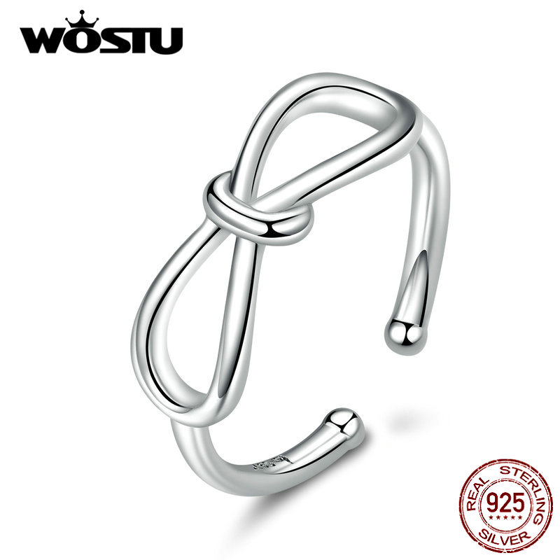 WOSTU 100% 925 Sterling Silver Simple Bowknot Open Size Ring For Women Wedding Engagement Rings Fashion Jewelry BNR080
