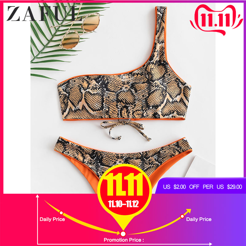 ZAFUL Snakeskin Print One Shoulder Reversible Bikini Set Women Two Pieces Sets Reversible Bikini Wirefree One Shoulder Swim Sets