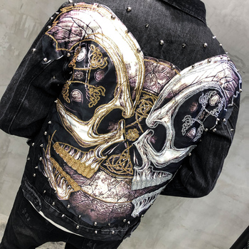 Mens Printing Denim Jackets Streetwear Rivet Decoration Hip Hop Casual Patchwork Ripped Distressed Punk Rock Jeans Coats Outwear