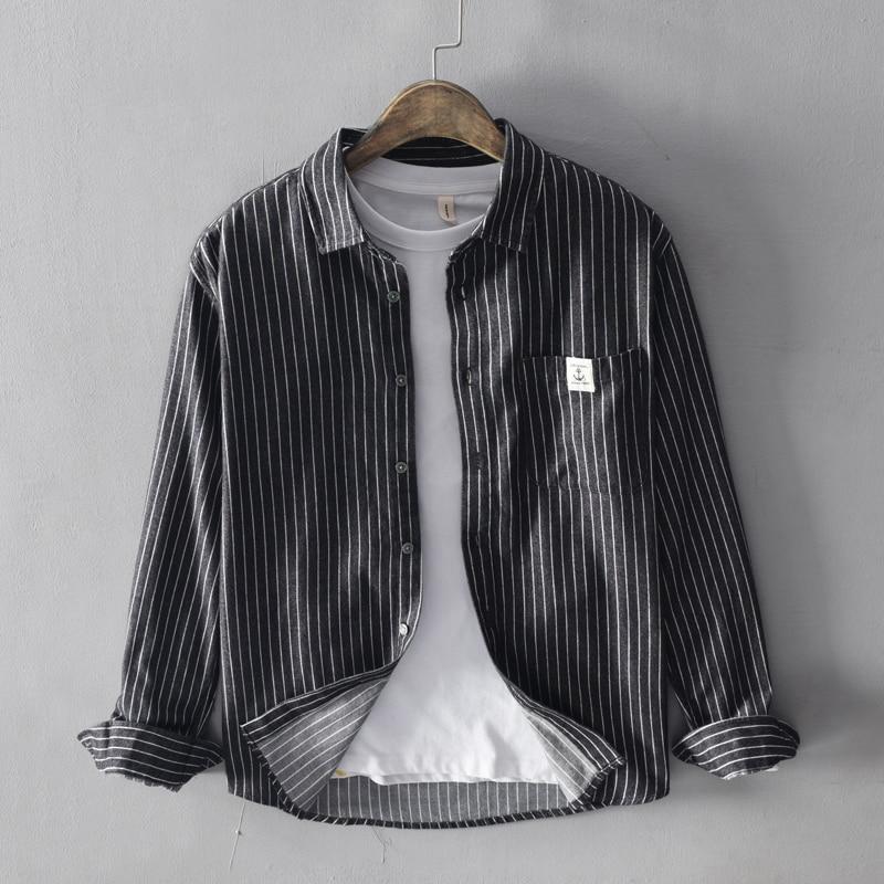 Japanese Style Vintage Fashion Men Shirts Top Quality 100% Cotton Long Sleeve Stripe Shirts Men Black Gray Casual Business Shirt