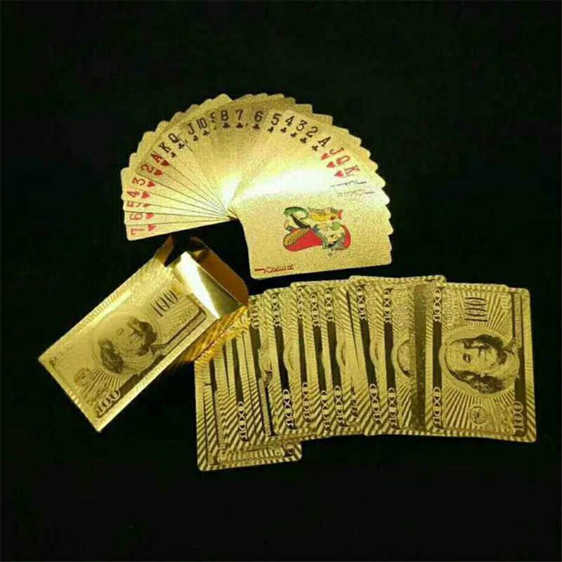 Divertissez les cartes à jouer d'or plate-forme de feuille d'or Pokers ensemble cartes magiques 24K or feuille de plastique Pokers cartes imperméables durables