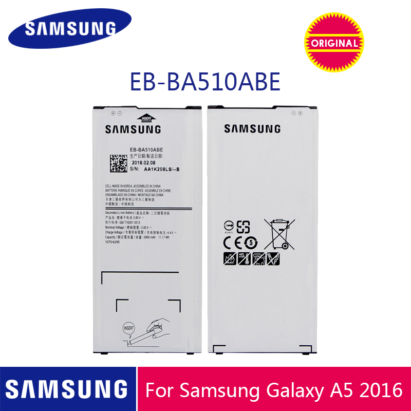 SAMSUNG Original Phone Battery EB-BA510ABE 2900mAh For Samsung Galaxy A5 2016 A510 A510F A5100 A510M A510FD A510K A510S