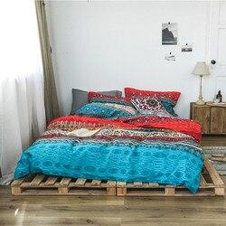 Edredón de algodón bohemio 3d conjuntos de ropa de cama de lujo Boho funda de edredón conjunto de funda de almohada Queen King tamaño colcha