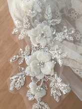 Applique de dentelle à fleurs 3D, Haute Couture, strass, perlée, pour cheveux de mariée, couvre-chef de mariage, voile, avec Motif