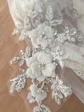 Haute couture rhinestone beaded 3D flower lace applique bridal hair wedding headpiece veil patch motif