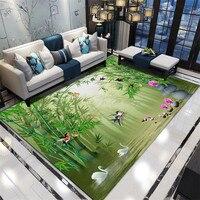 거실 용 3d 카펫 중국 꽃 인쇄 목가적 인 지역 러그 대형 카펫 침실 베드 사이드 플로어 매트 홈 인테리어
