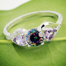Lingmei Fashion Engagement Love Heart Round Cut Multicolor & Purple White Blue Zircon Silver 925 Ring Size 6-13 Dropshipping