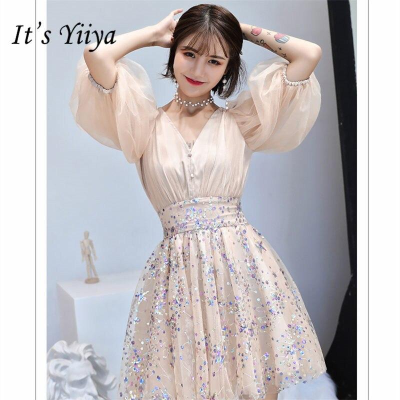 It's YiiYa Cocktail Dress 2019 V-Neck Short Women Party Night Dresses Elegant Seuiqns Plus Size Mini Vestidos De Gala  E796
