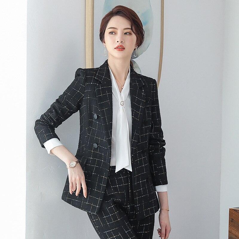 Women's white suit 2019 autumn new high quality plaid blazer Pants suit female Business office suit large size two-piece