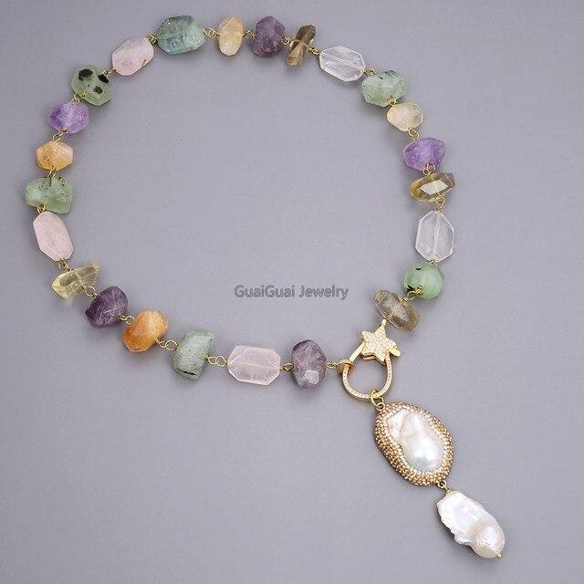 GG bijoux 24 naturel multicolore citrine rose quartz améthyste appréhnite cristal collier pendentif Mabe