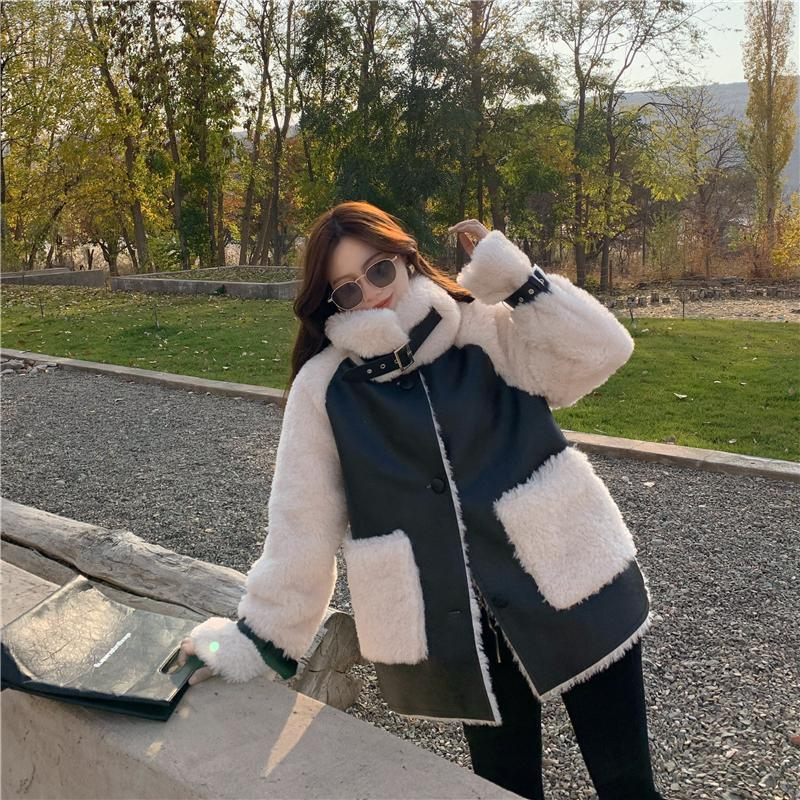 H127c1e84234a4f549f010b917f50bb49L Winter Women High Quality Fur Coat Loose Collar Design Integrated Long Splicing Single-breasted Cotton-padded Pocket Jackets
