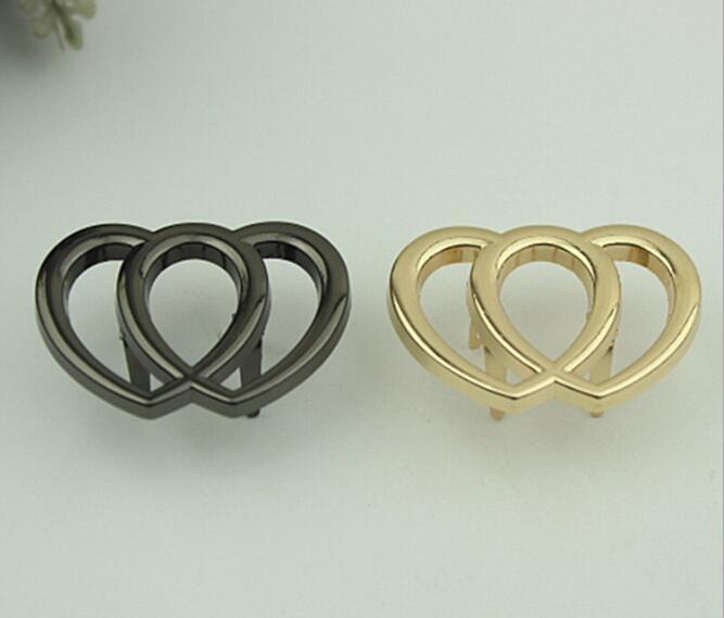 (20 Pcs/lot) Factory Direct Luggage Handbag Hardware Accessories Metal Double Love Decorative Buckle