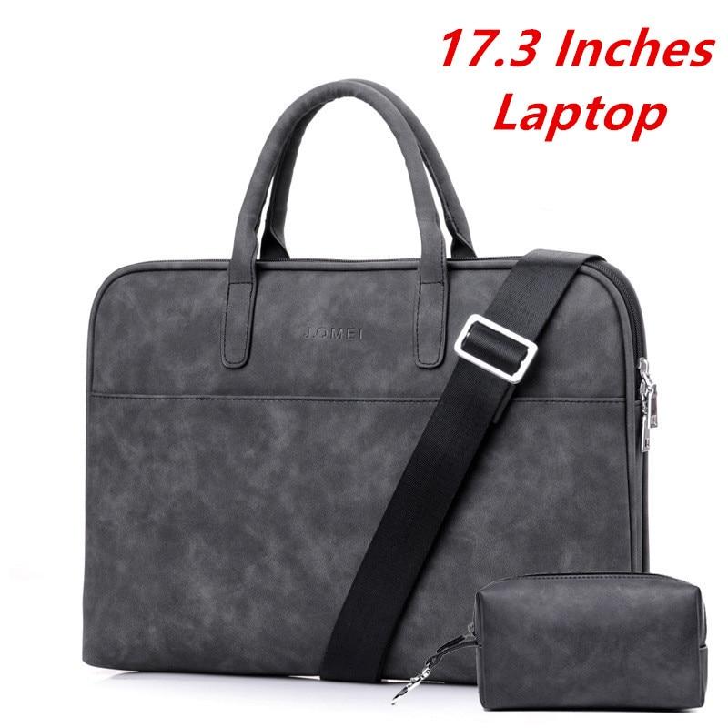 "17 inches 17.3"" Laptop Computer Bag Beautiful Simple Fashion Men Handbag Leather Business Women Briefcase"