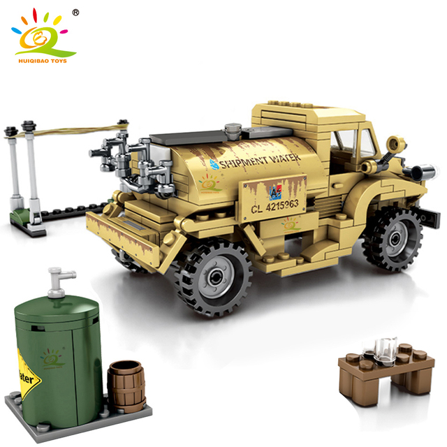 HUIQIBAO 284pcs Military Pattern truck Building Blocks WW2 Army Vehicle Soldier Figures Bricks Educational Toys for Children Boy