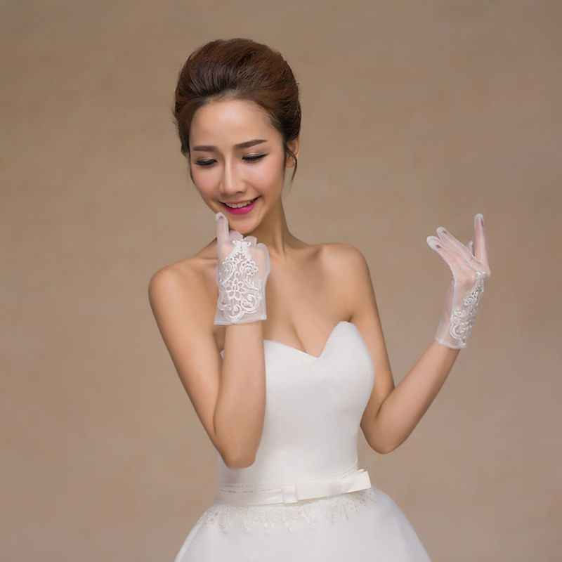 Glamour Bride Dress Gloves Lace Short Paragraph Mittens Wedding Dresses Accessories Charming Lady Women Glove With Fingers Aliexpress